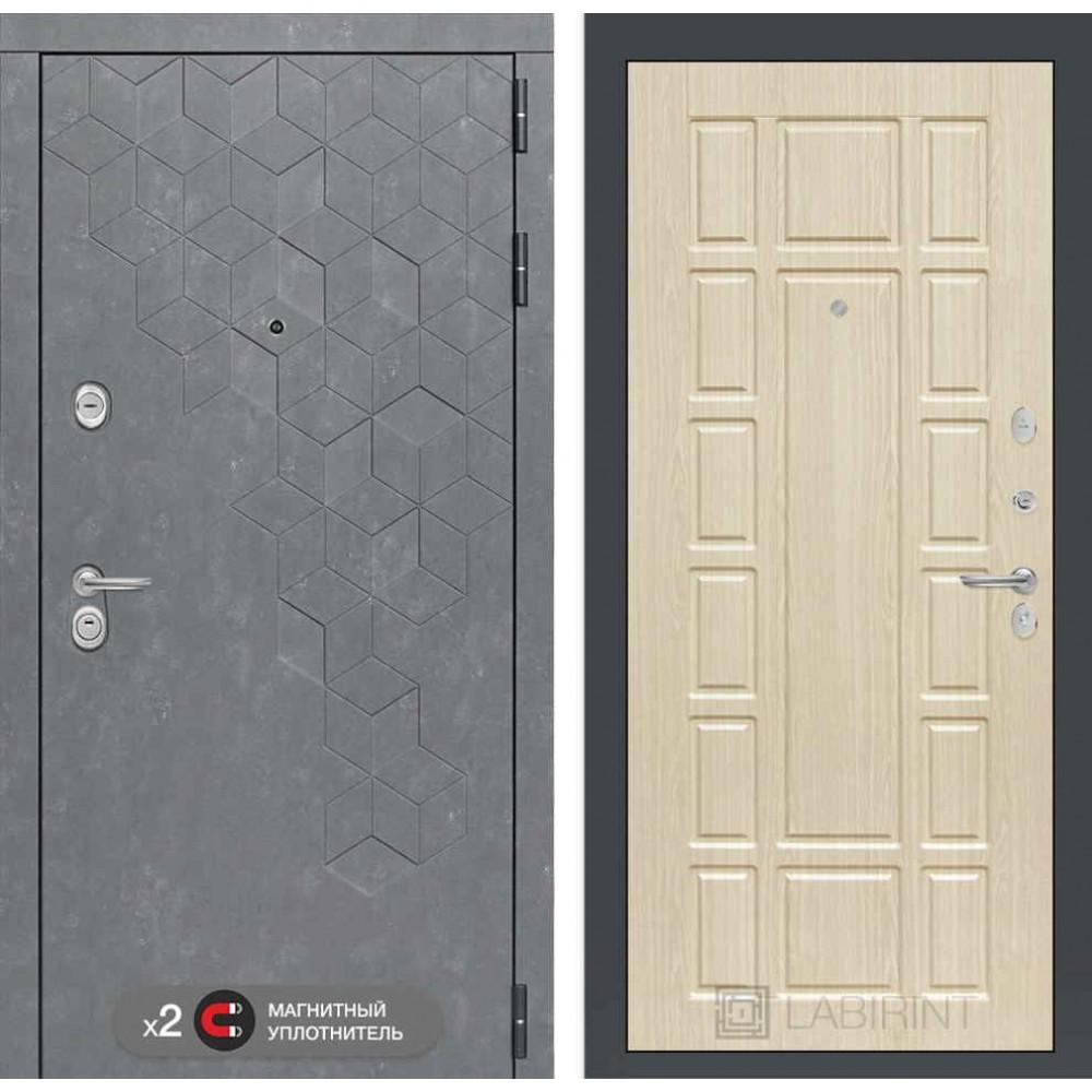 Входная дверь Лабиринт Бетон 12 - Беленый дуб ( утепленные )