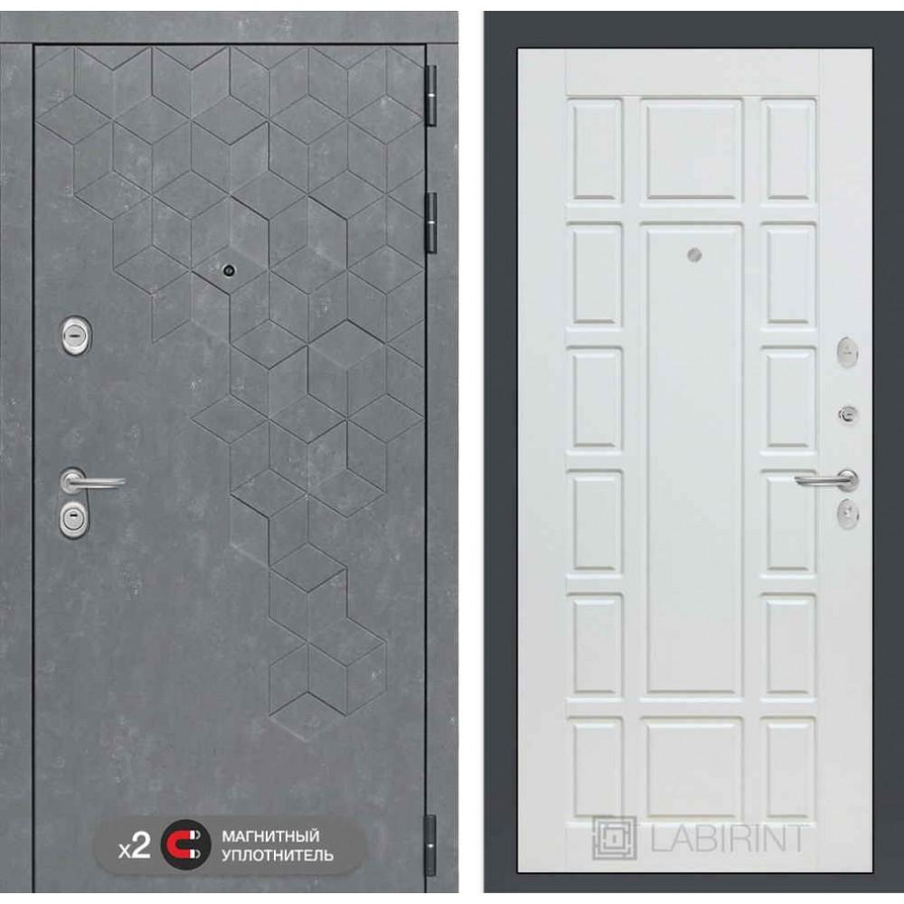 Входная дверь Лабиринт Бетон 12 - Белое дерево ( с шумоизоляцией )