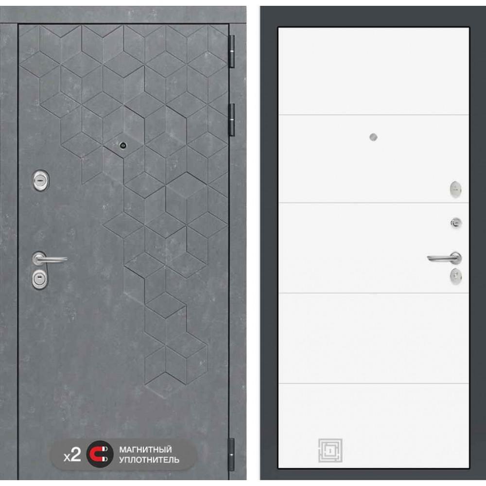 Входная дверь Лабиринт Бетон 13 - Белый софт (трехконтурные )