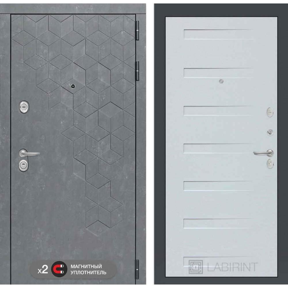 Входная дверь Лабиринт Бетон 14 - Дуб кантри белый горизонтальный (утепленные)