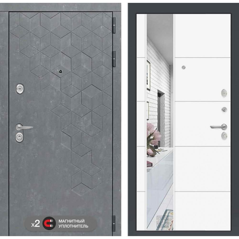 Входная дверь Лабиринт Бетон с зеркалом 19 - Белый софт (сейфовые)