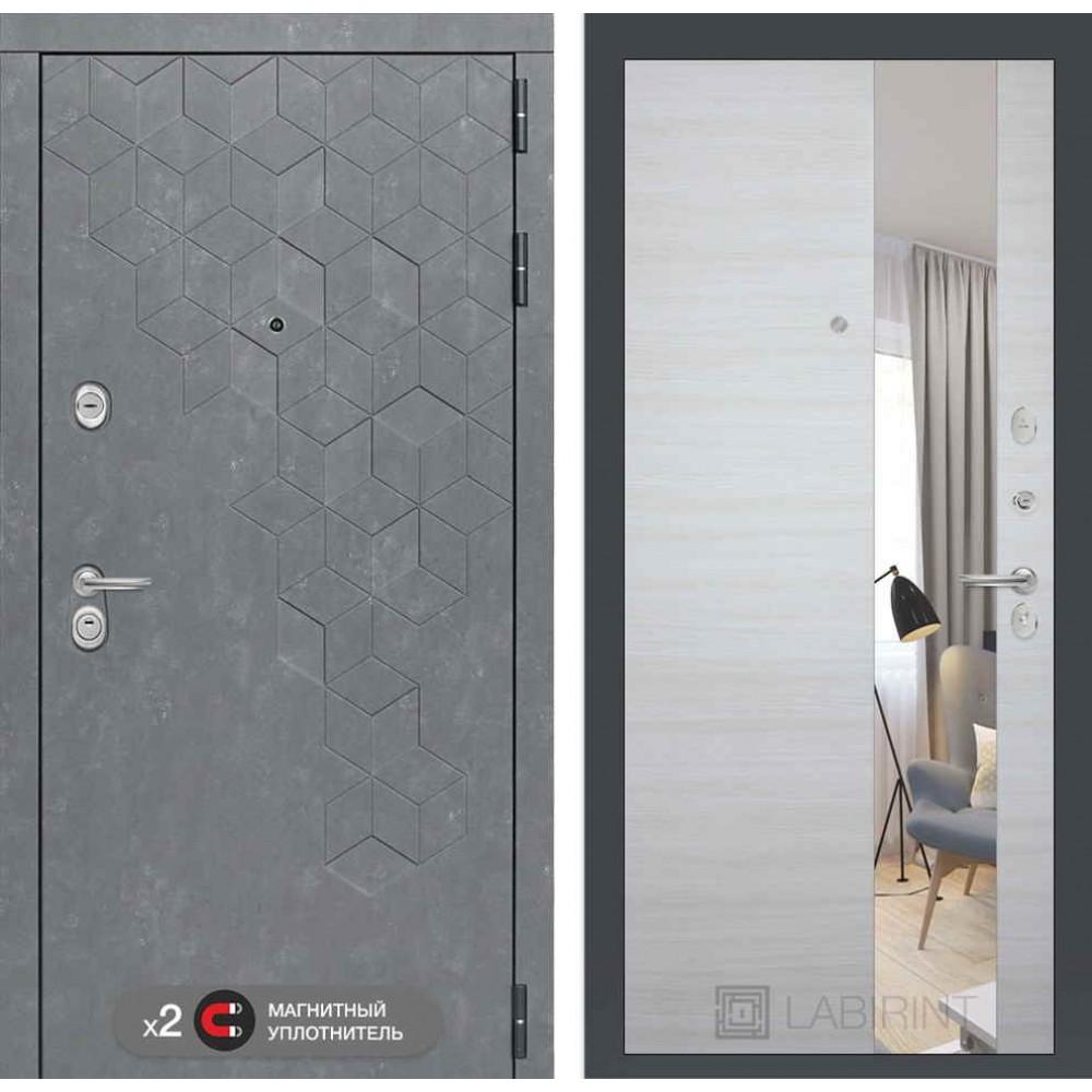 Входная дверь Лабиринт Бетон с узким зеркалом - Акация светлая горизонтальная ( с шумоизоляцией)