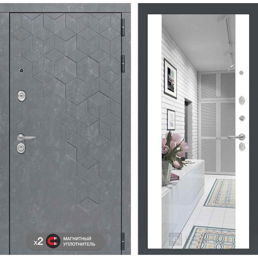 Входная дверь Лабиринт Бетон с зеркалом Максимум - Белый софт (трехконтурные)