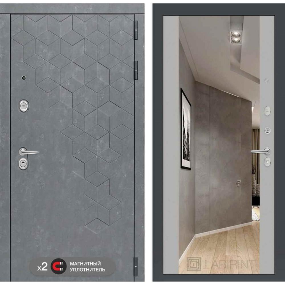 Входная дверь Лабиринт Бетон с зеркалом Максимум - Софт Грей (утепленные)