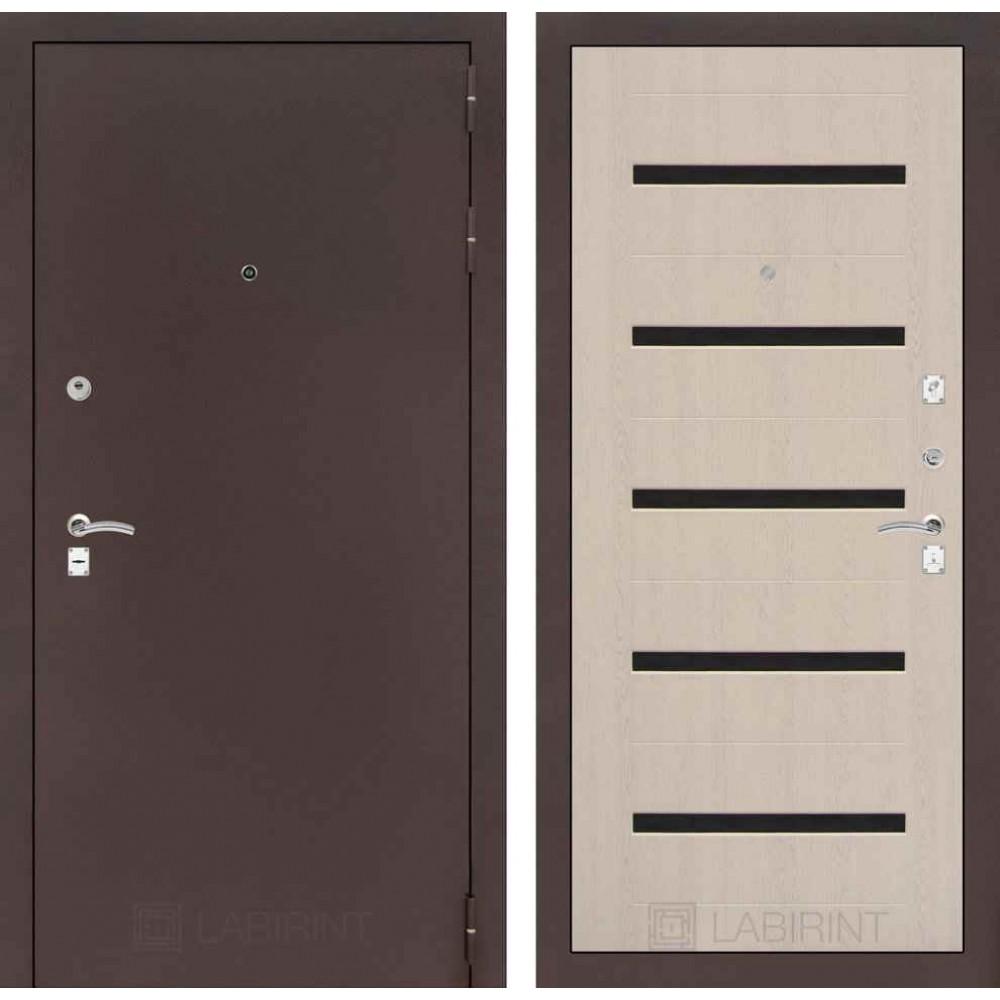 Входная дверь Лабиринт CLASSIC антик медный 01 - Беленый дуб (с шумоизоляцией)