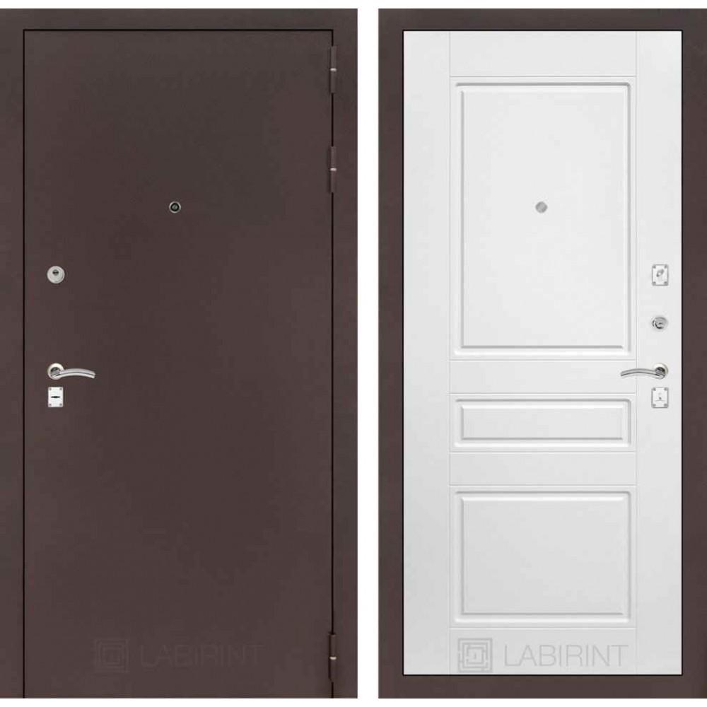 Входная дверь Лабиринт CLASSIC антик медный 03 - Белый софт ( наружного открывания)