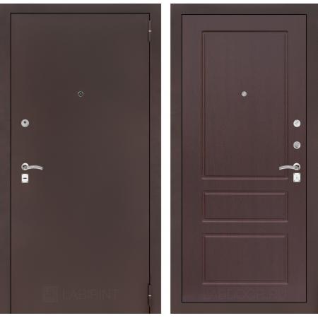 Входная дверь Лабиринт CLASSIC антик медный 03 - Орех премиум (трехконтурные)