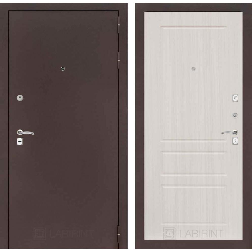 Входная дверь Лабиринт CLASSIC антик медный 03 - Сандал белый ( утепленные )