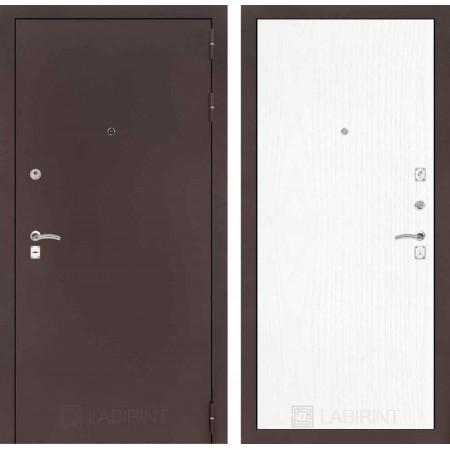 Входная дверь Лабиринт CLASSIC антик медный 07 - Белое дерево (утепленные )
