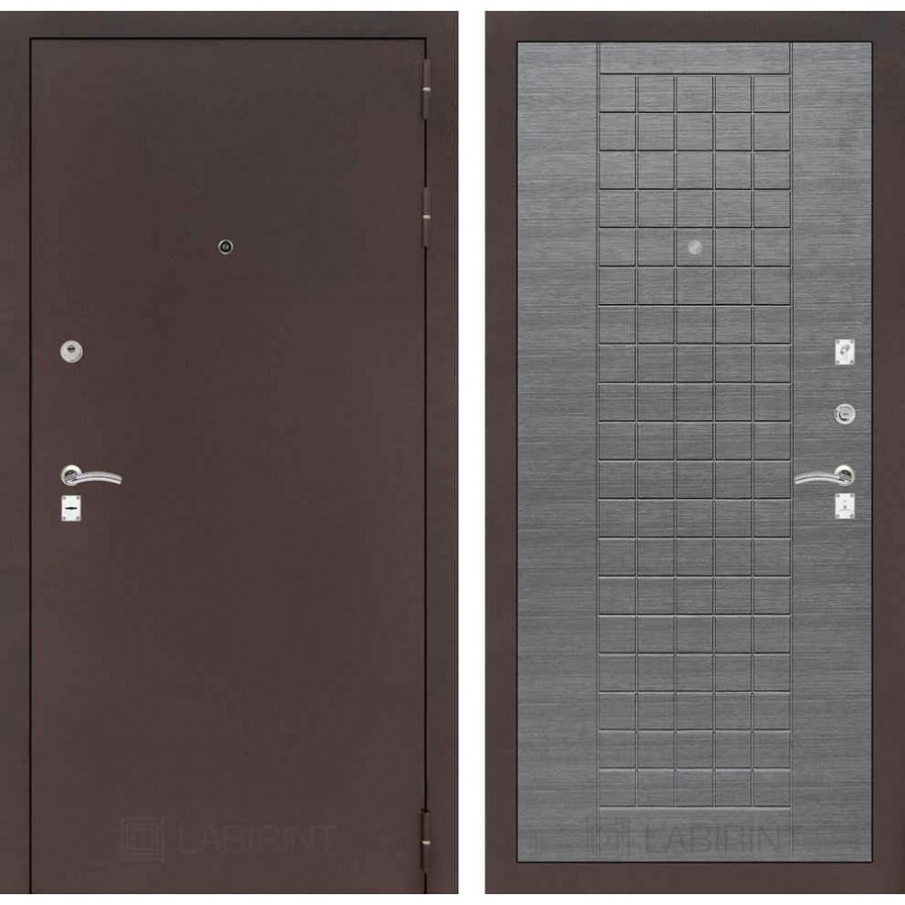 Входная дверь Лабиринт CLASSIC антик медный 09 - Лен сильвер грей (с шумоизоляцией)