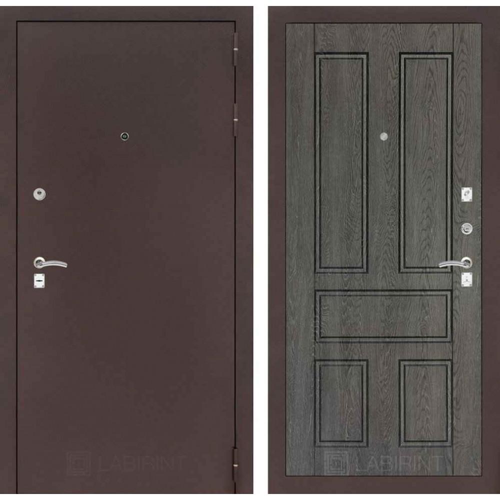 Входная дверь Лабиринт CLASSIC антик медный 10 - Дуб филадельфия графит ( с шумоизоляцией)