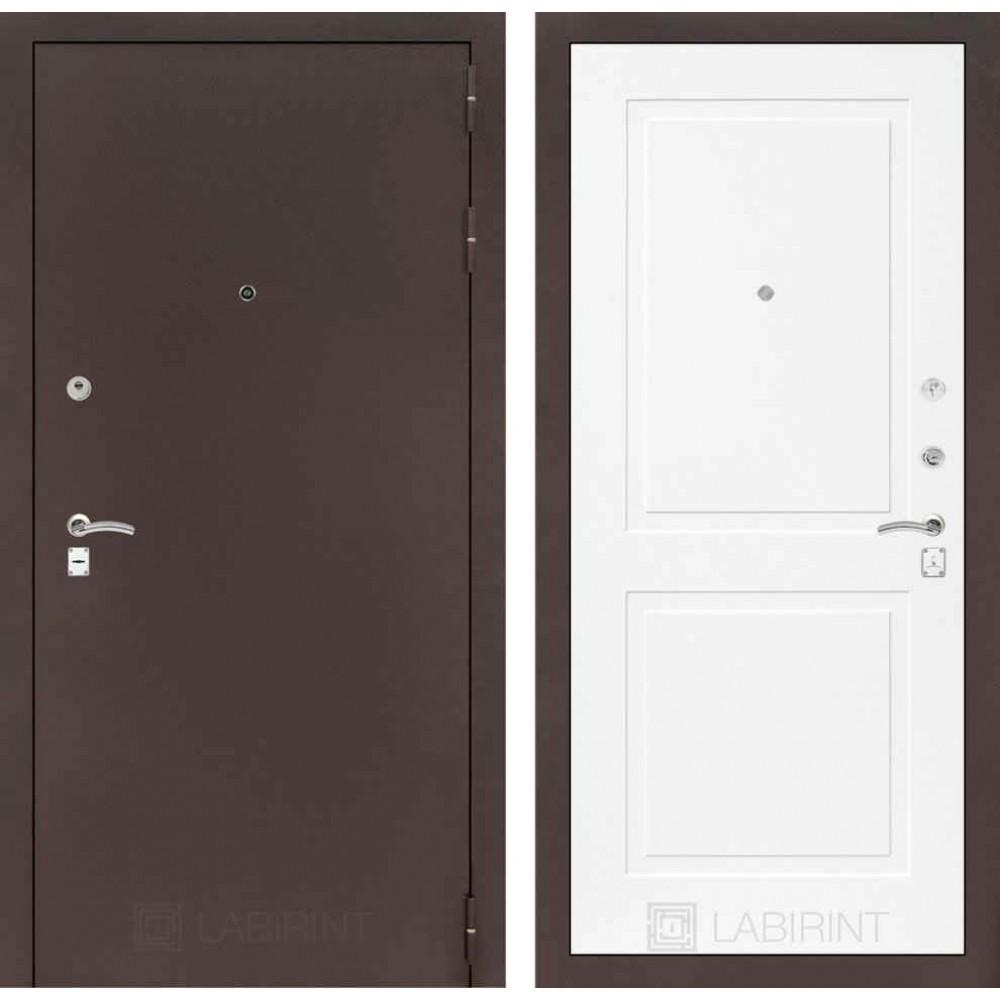 Входная дверь Лабиринт CLASSIC антик медный 11 - Белый софт (трехконтурные)