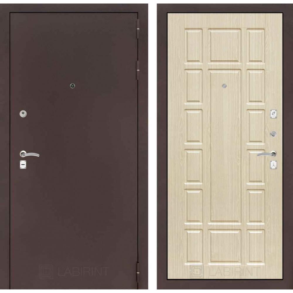 Входная дверь Лабиринт CLASSIC антик медный 12 - Беленый дуб (с шумоизоляцией)