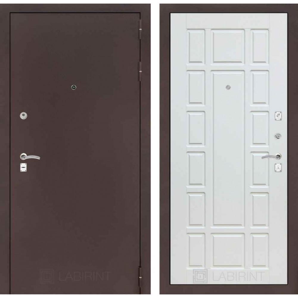 Входная дверь Лабиринт CLASSIC антик медный 12 - Белое дерево (утепленные )
