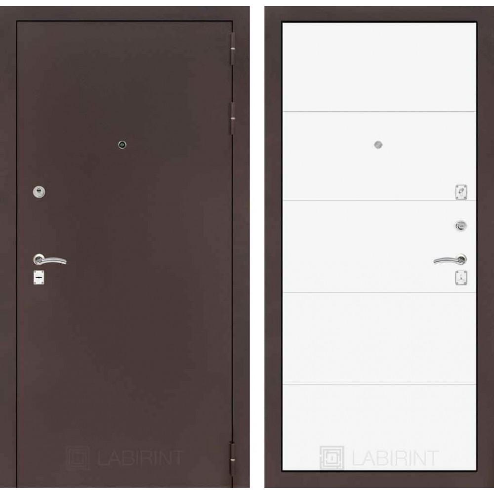 Входная дверь Лабиринт CLASSIC антик медный 13 - Белый софт (утепленные )