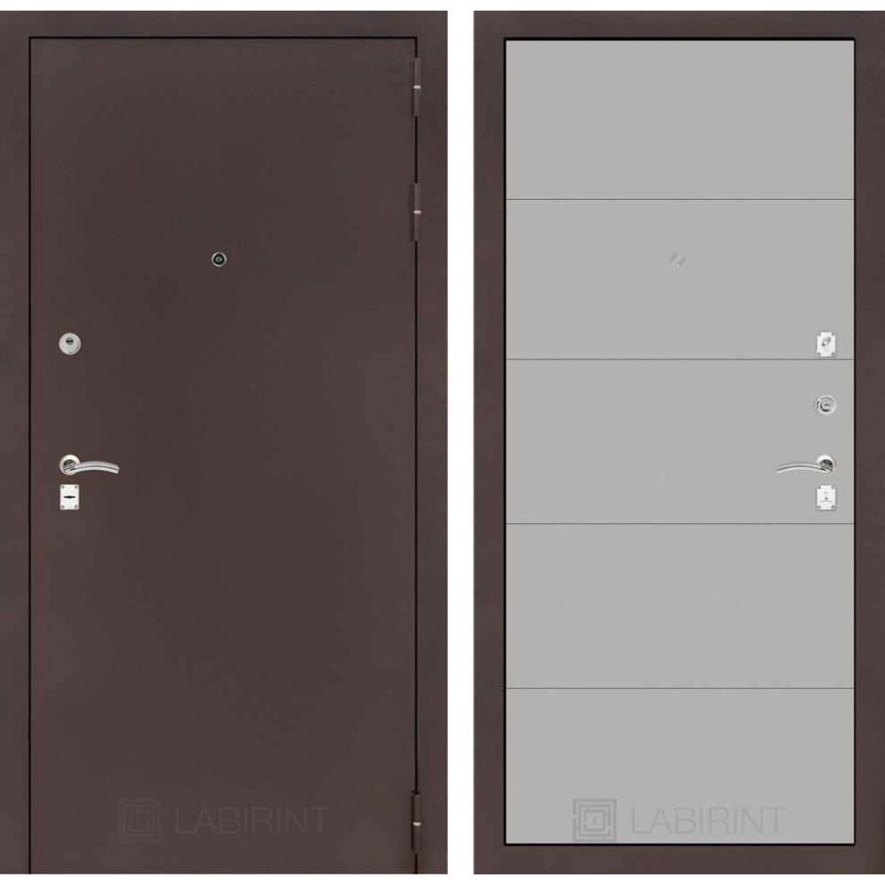 Входная дверь Лабиринт CLASSIC антик медный 13 - Грей софт (с шумоизоляцией)