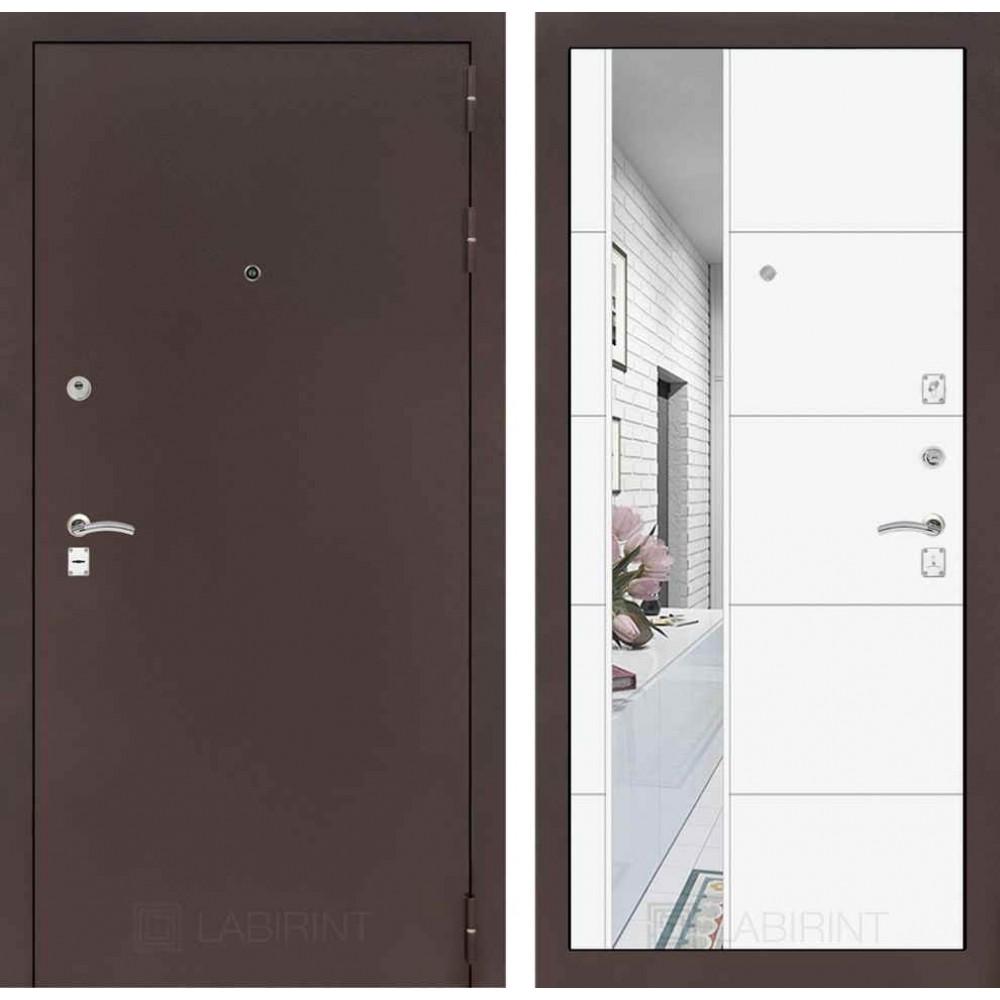 Входная дверь Лабиринт CLASSIC антик медный с Зеркалом 19 - Белый софт ( утепленные )