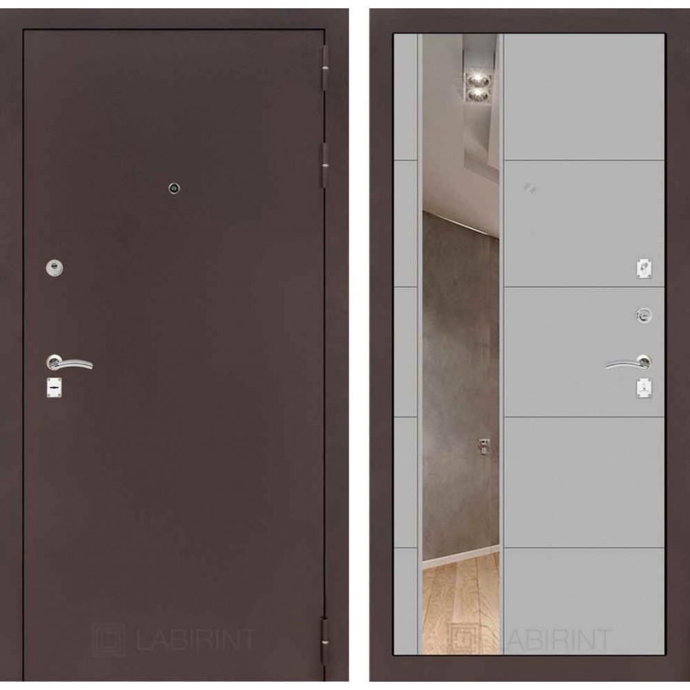 Дверь Лабиринт CLASSIC антик медный с Зеркалом 19 - Грей софт ( трехконтурные )