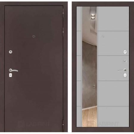 Входная дверь Лабиринт CLASSIC антик медный с Зеркалом 19 - Грей софт ( трехконтурные )