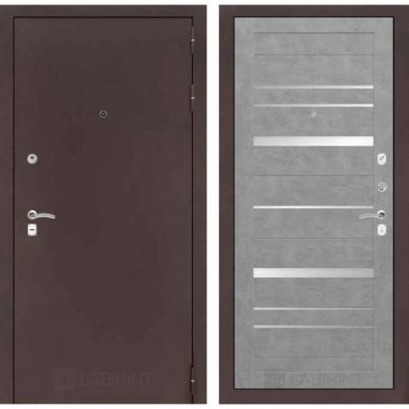 Входная дверь с зеркалом Лабиринт CLASSIC антик медный 20 Бетон светлый (утепленные)
