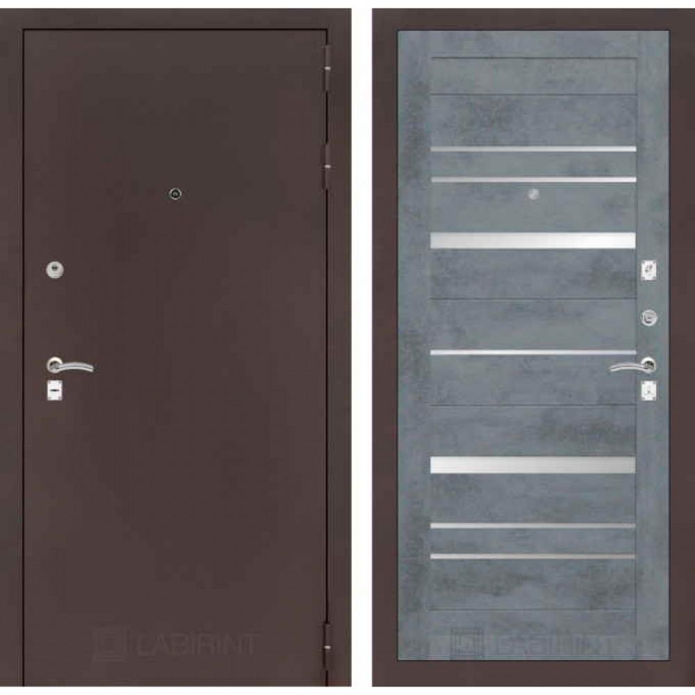 Дверь Лабиринт CLASSIC антик медный 20 Бетон темный (утепленные)