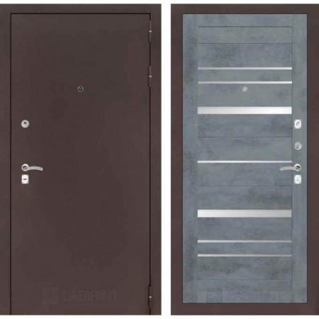 Входная дверь  с зеркалом Лабиринт CLASSIC антик медный 20 Бетон темный (утепленные)