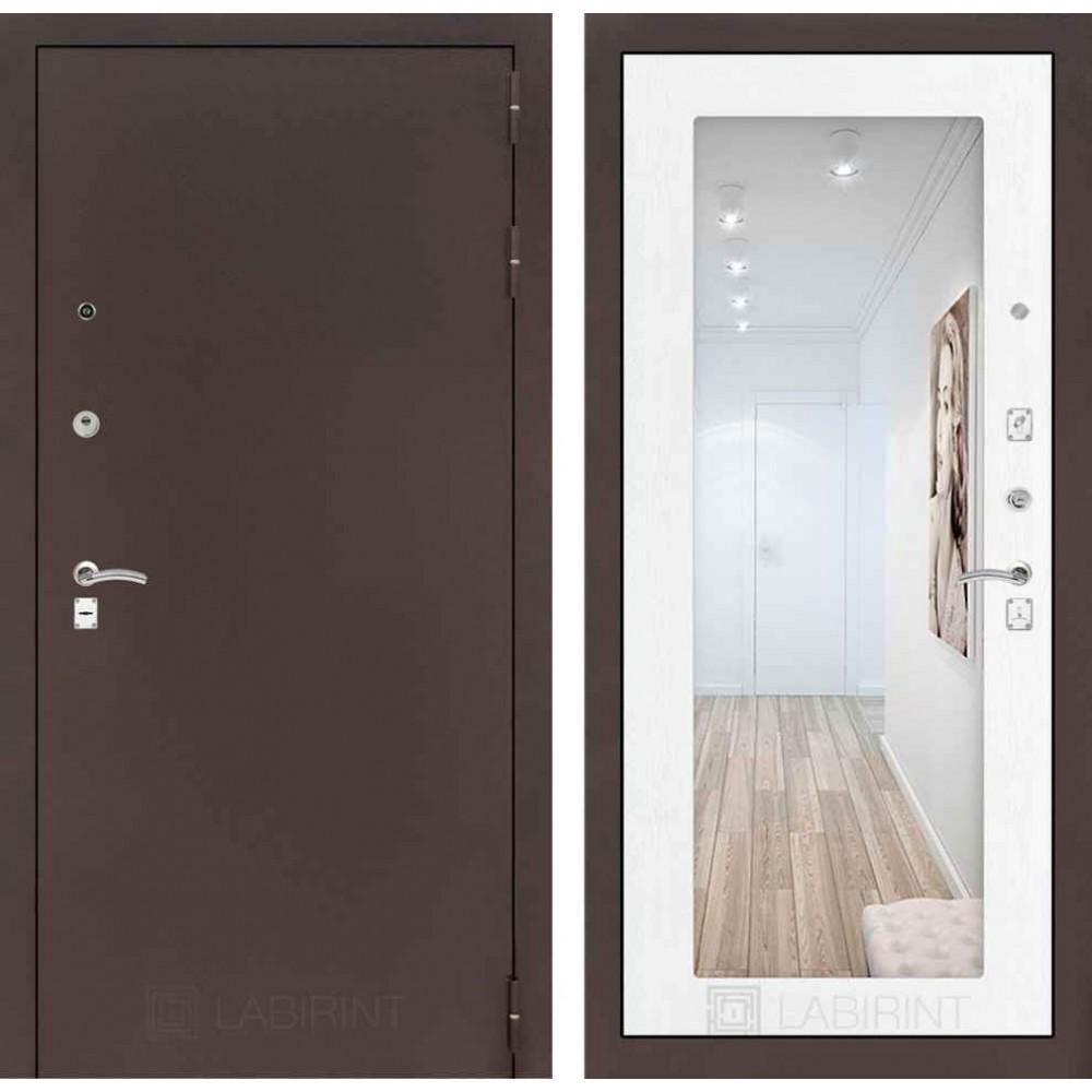 Входная дверь Лабиринт CLASSIC антик медный с Зеркалом 18 - Белое дерево (с шумоизоляцией)