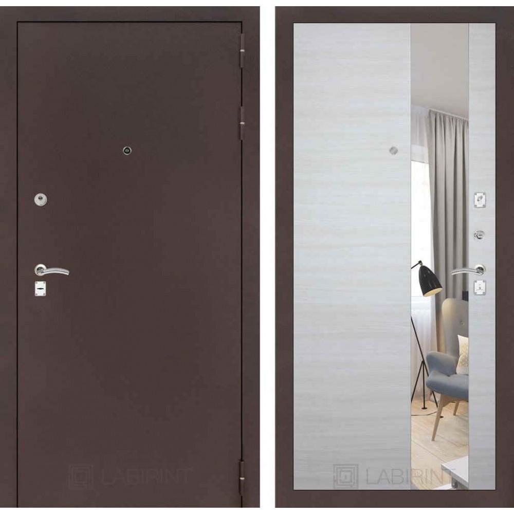 Входная дверь Лабиринт CLASSIC антик медный с Зеркалом - Акация светлая горизонтальная (трехконтурные)