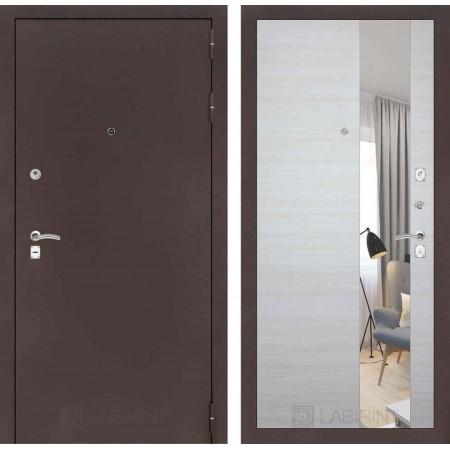 Входная дверь с зеркалом Лабиринт CLASSIC антик медный с Зеркалом - Акация светлая горизонтальная (трехконтурные)