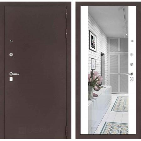 Входная дверь Лабиринт CLASSIC антик медный с Зеркалом Максимум - Белый софт (с шумоизоляцией)