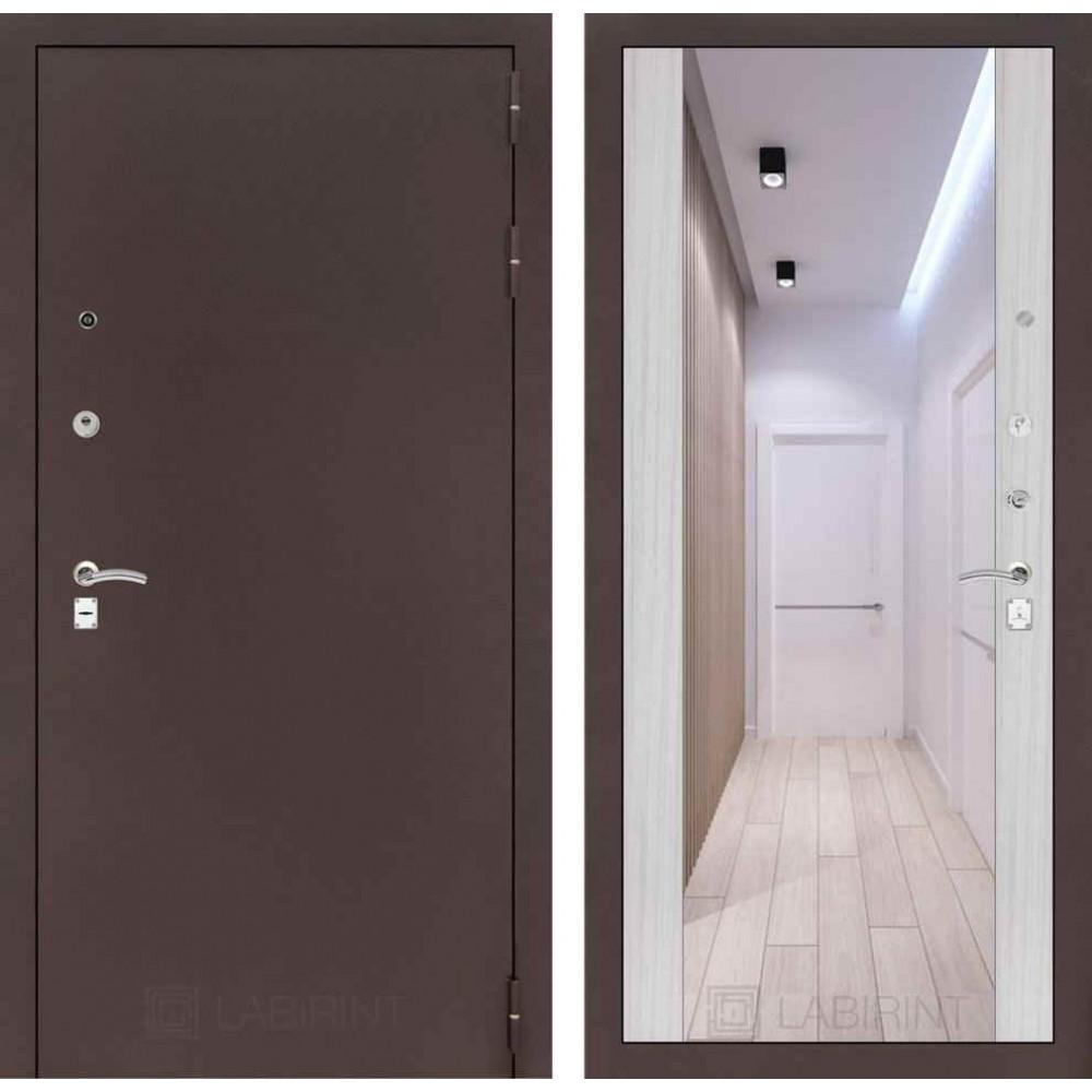 Входная дверь Лабиринт CLASSIC антик медный с Зеркалом Максимум - Сандал белый (с шумоизоляцией)