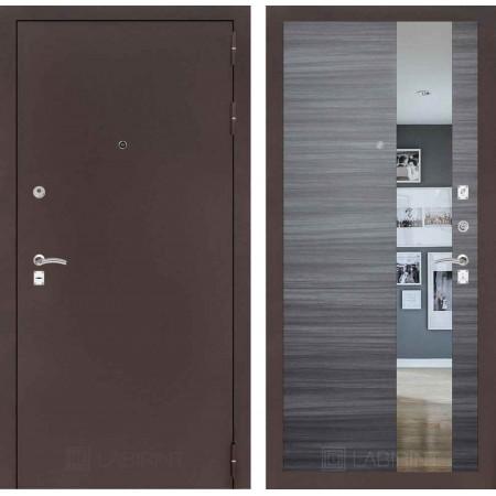 Входная дверь с зеркалом Лабиринт CLASSIC антик медный с Зеркалом - Сандал серый горизонтальный (утепленные )