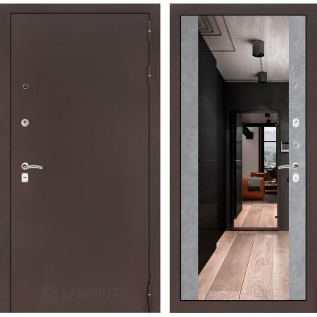 Входная дверь Лабиринт CLASSIC антик медный с Зеркалом Максимум - Бетон светлый (трехконтурные)