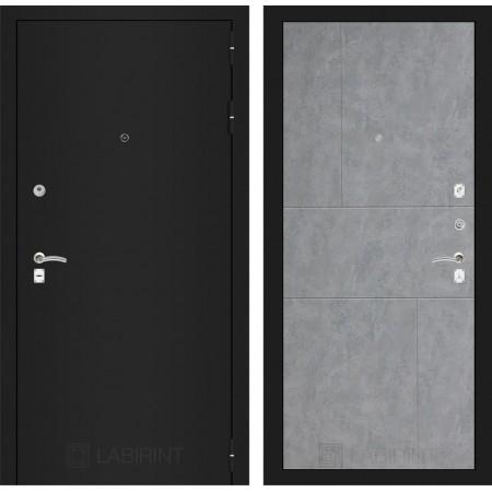 Входная дверь Лабиринт CLASSIC шагрень черная 21 - Бетон светлый (трехконтурные)