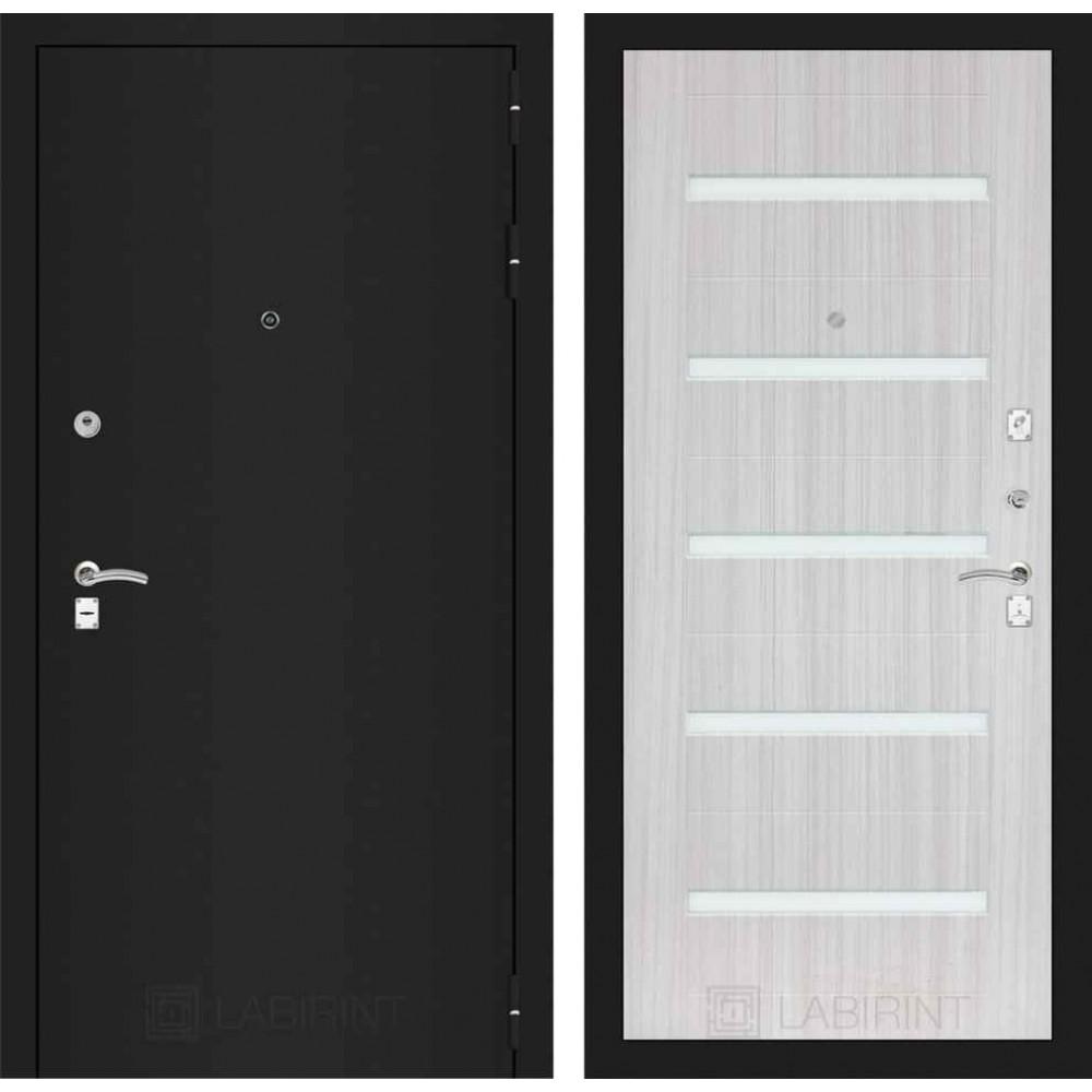 Входная дверь Лабиринт CLASSIC шагрень черная 01 - Сандал белый (трехконтурные)