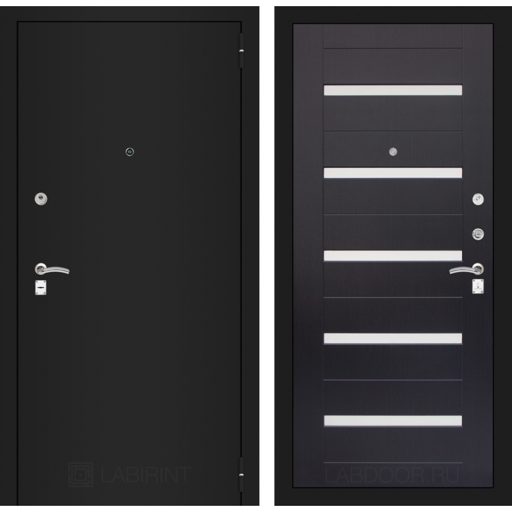 Входная дверь Лабиринт CLASSIC шагрень черная 01 - Венге (с шумоизоляцией)