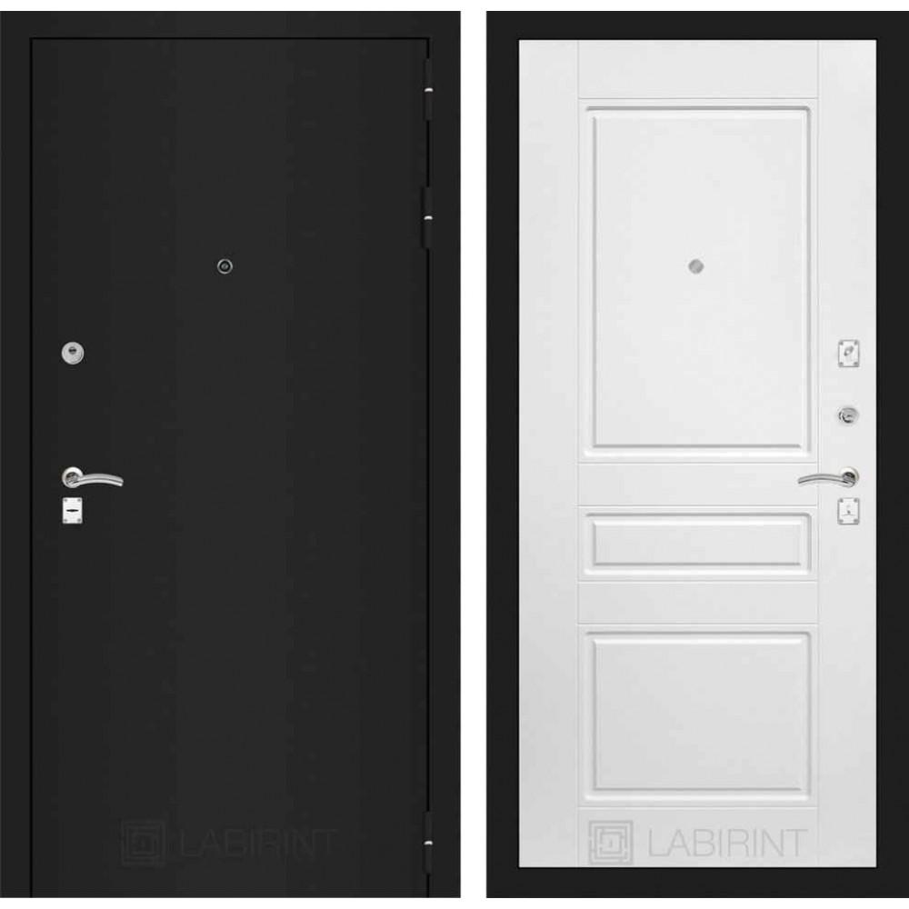 Входная дверь Лабиринт CLASSIC шагрень черная 03 - Белый софт (утепленные)