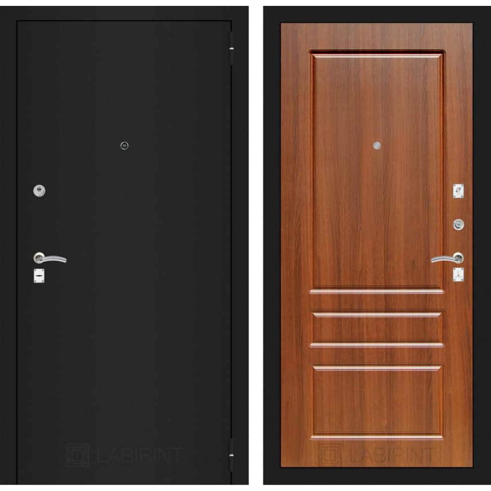 Входная дверь Лабиринт CLASSIC шагрень черная 03 - Орех бренди (утепленные)
