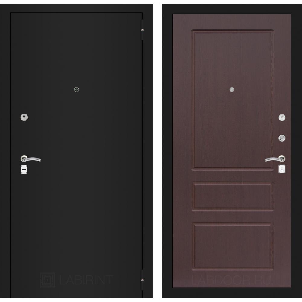 Входная дверь Лабиринт CLASSIC шагрень черная 03 - Орех премиум (утепленные)