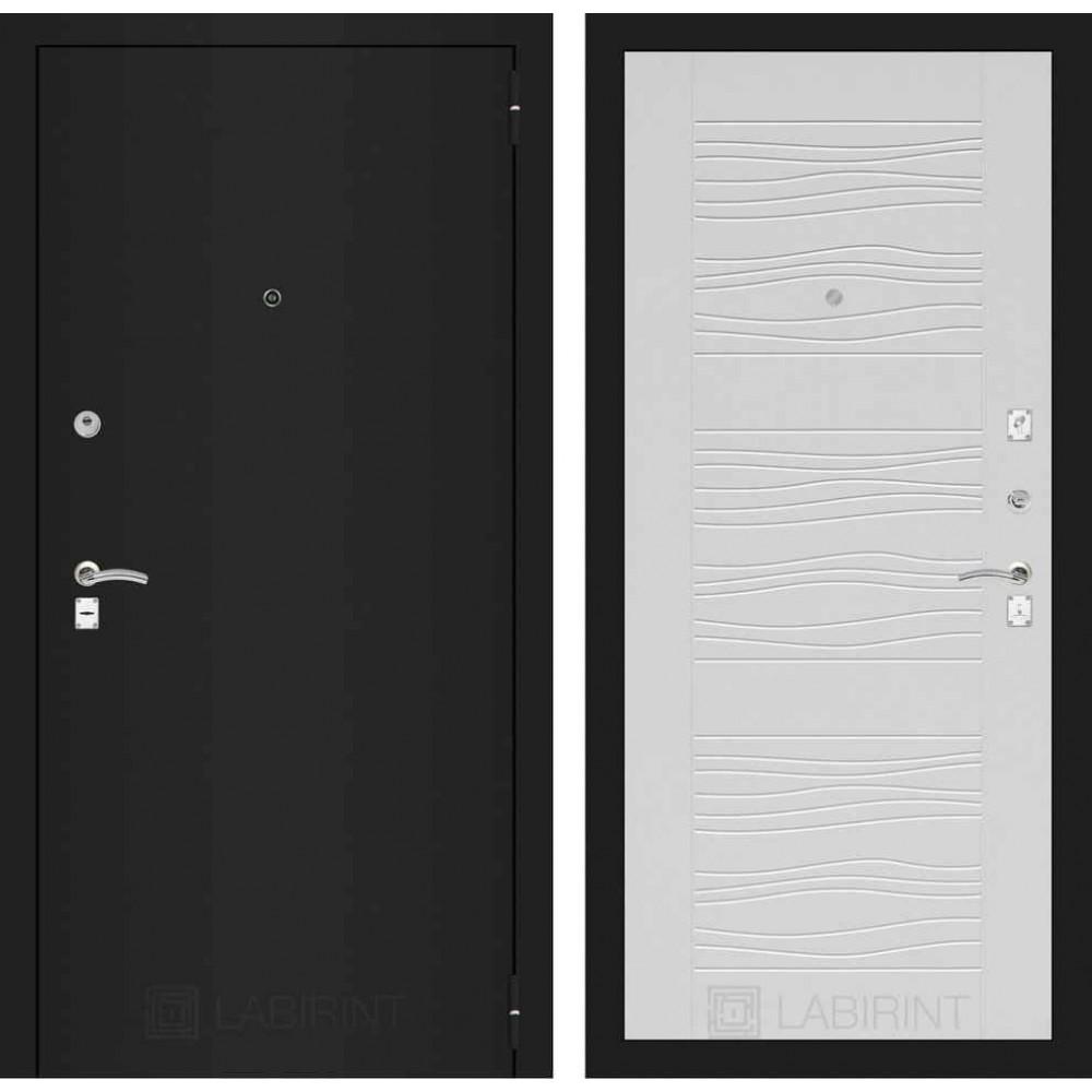 Входная дверь Лабиринт CLASSIC шагрень черная 06 - Белое дерево (трехконтурные)