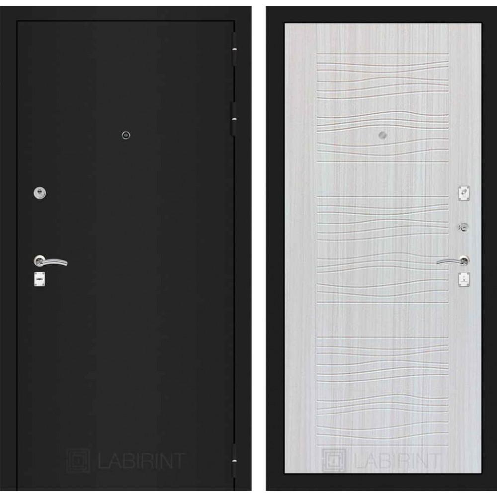 Входная дверь Лабиринт CLASSIC шагрень черная 06 - Сандал белый (утепленные)