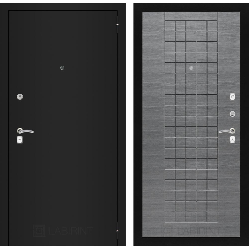Входная дверь Лабиринт CLASSIC шагрень черная 09 - Лен сильвер грей (город Йошкар-Ола.)