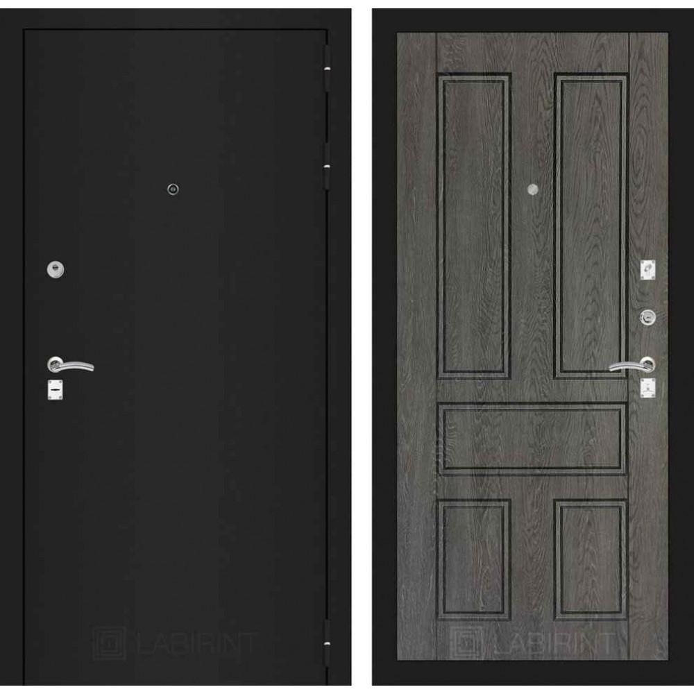 Входная дверь Лабиринт CLASSIC шагрень черная 10 - Дуб филадельфия графит (утепленные)
