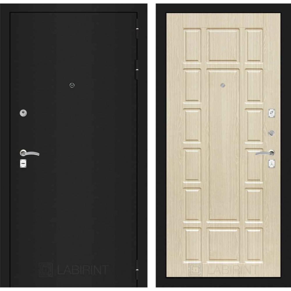 Входная дверь Лабиринт CLASSIC шагрень черная 12 - Беленый дуб (трехконтурные)