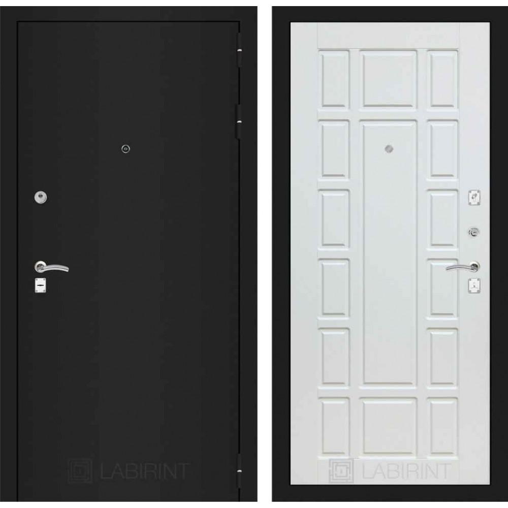 Входная дверь Лабиринт CLASSIC шагрень черная 12 - Белое дерево (трехконтурные)