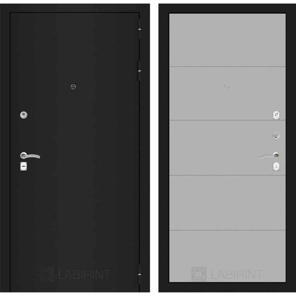 Входная дверь Лабиринт CLASSIC шагрень черная 13 - Грей софт (трехконтурные)