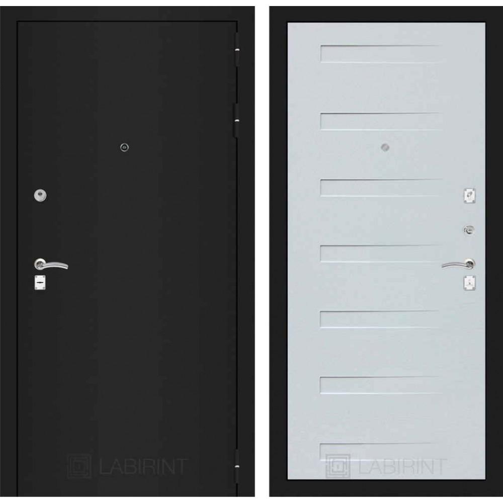Входная дверь Лабиринт CLASSIC шагрень черная 14 - Дуб кантри белый горизонтальный (утепленные)