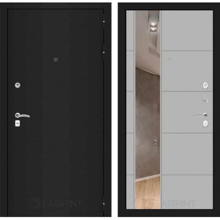 Входная дверь Лабиринт CLASSIC шагрень черная с Зеркалом 19 - Грей софт (утепленные)