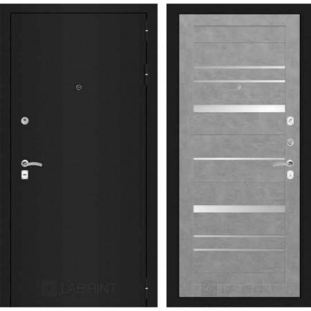Входная дверь Лабиринт  CLASSIC шагрень черная 20 Бетон светлый (трехконтурные)