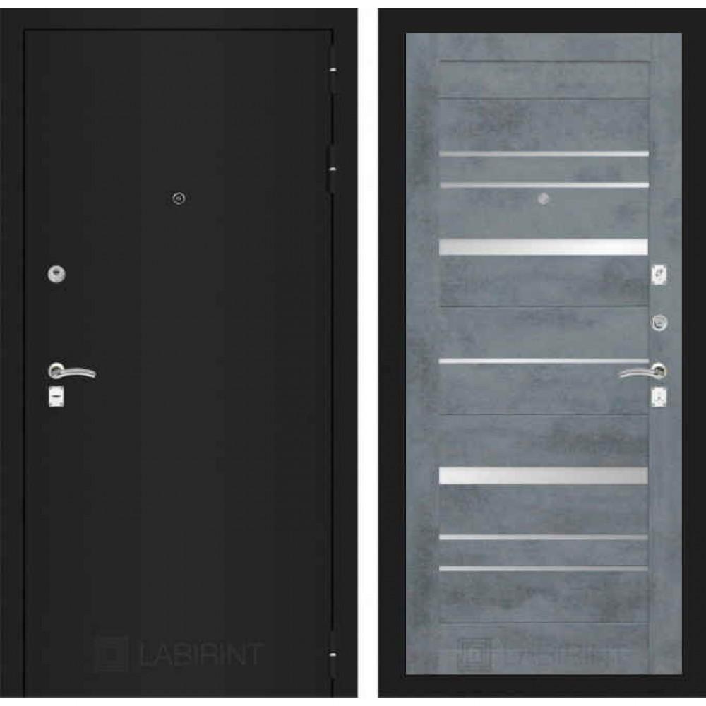Входная дверь Лабиринт  CLASSIC шагрень черная 20 Бетон темный (трехконтурные)